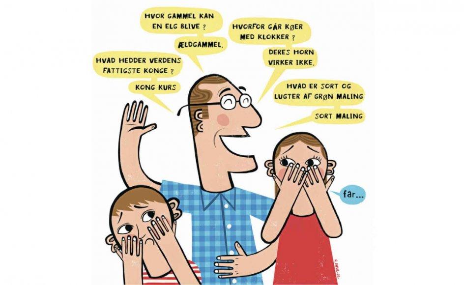 Forskeren bag en ny videnskabelig artikel om far-jokes sammenligner i sin artikel den dannende funktion af den usjove vits med de tumlelege, som forældre altid har leget med deres børn for at hærde dem til livet. Tegning: Rasmus Juul