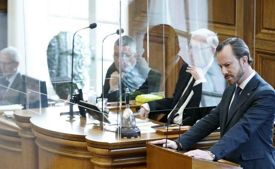 Jakob Ellemann-Jensen (V). Møde i Folketingssalen, som indledes med en udvidet partilederdebat, på Christiansborg tirsdag den 13. april 2021. Desuden behandles lovgivning om mink og kompensation til minkavlerne.