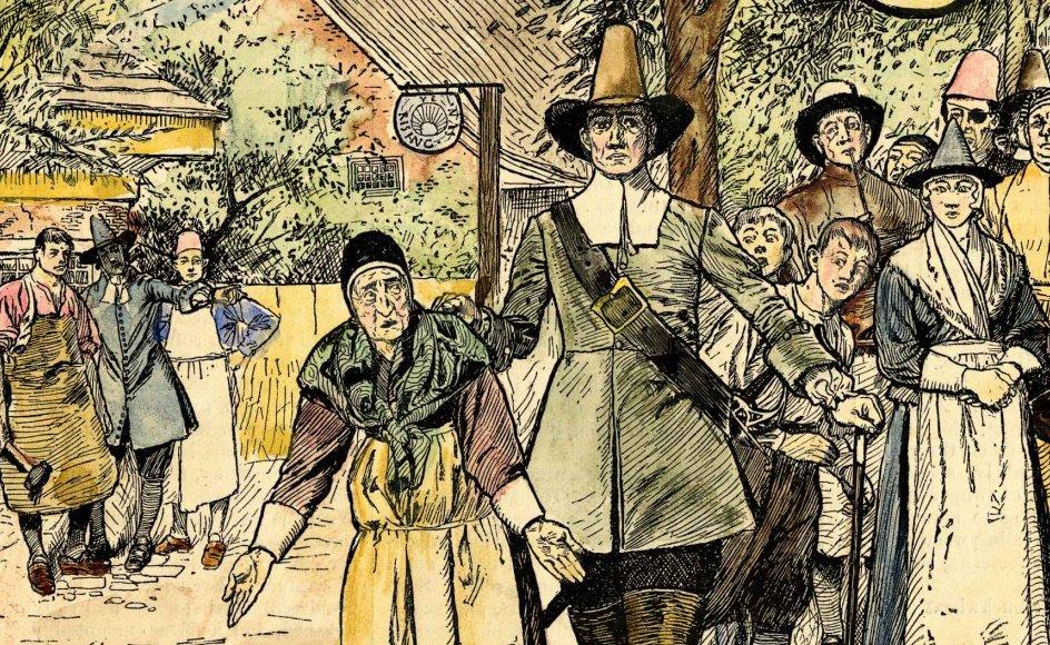 En ældre kvinde bliver arresteret for at udøve heksekunster. I Danmark fandt der omkring 1000 hekseafbrændinger sted fra 1540 til 1693.