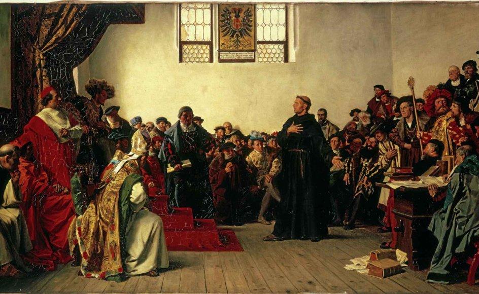Martin Luthers møde med kejseren i Worms er vist i mange fremstillinger. Her ses et maleri af kunstneren Anton von Werner (1843-1915). – Foto: Akg-Images/ Ritzau Scanpix.