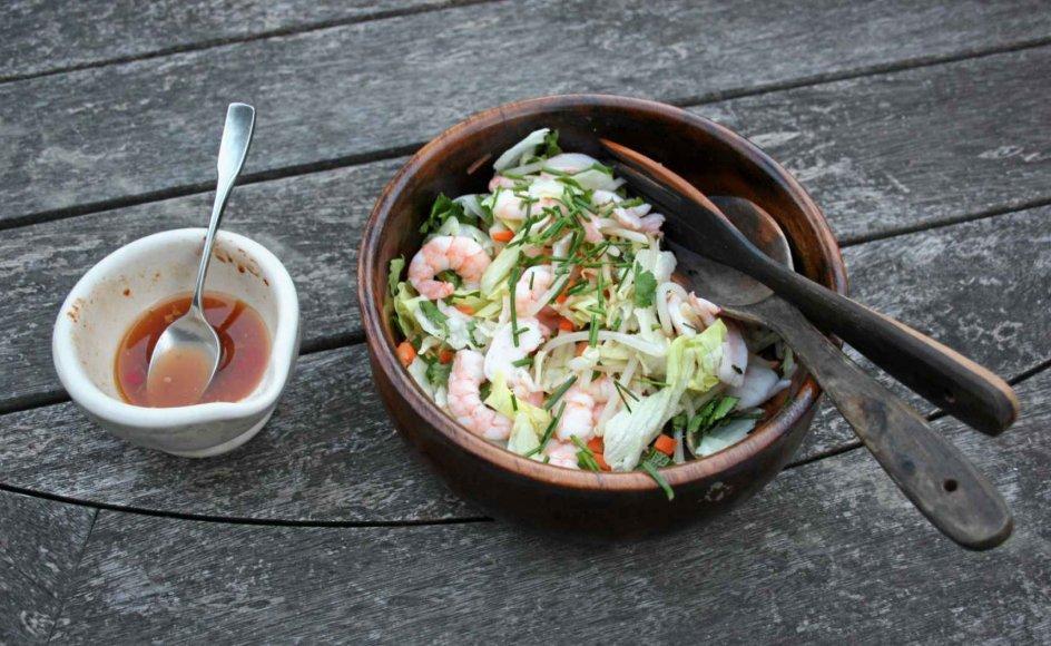 Smagseksplosionen i denne sprøde rejesalat kommer fra den stærke sovs med chili, ingefær og hvidløg.