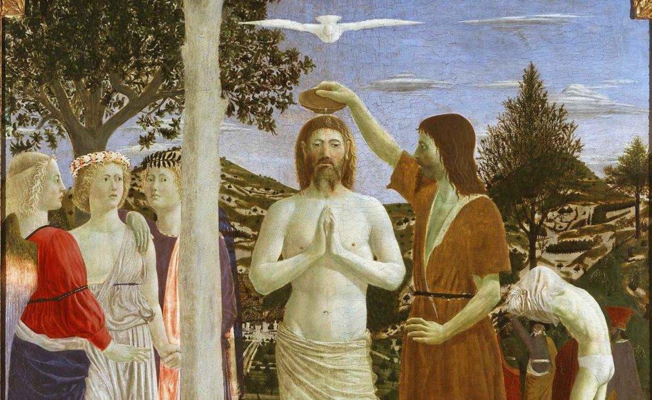 Duen repræsenterer Helligånden. Her ses den over Jesu hoved under Johannes Døberens dåb på et maleri af kunstneren Piero della Francesca fra 1400-tallet. – Foto: Ritzau Scanpix.
