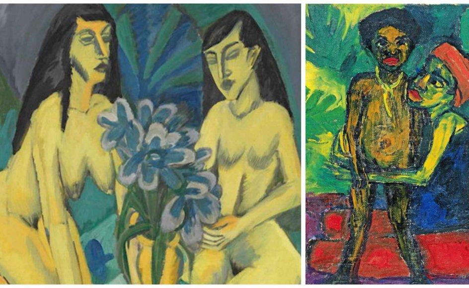 """Statens Museum for Kunsts udstilling """"Kirchner og Nolde til diskussion"""" præges af nutidig moralisme, mener nogle af landets anmeldere. Andre kalder den moderne og nuanceret. Her er det Emil Noldes """"Mor og dreng"""" (""""Mutter und Knabe""""), 1914 og Ernst Ludwig Kirchners: """"To gule modeller med blomsterbuket"""" (""""Zwei gelbe Akte mit Blumenstrauss"""") fra 1914. – Foto: Bündner Kunstmuseum Chur og Fotowerkstatt Elke Walford und Dirk Dunkelberg/Nolde Stiftung Seebüll."""