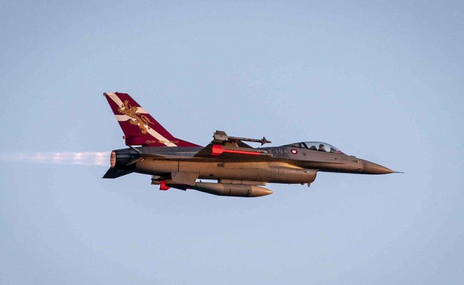 Forsvaret har to F-16 fly i deres afvisningsberedskab. Beredskabet skal hævde og håndhæve dansk suverænitet og yde støtte til civile fly. Kampflyene skal vise tilstedeværelse og være i stand til at forsvare det danske luftrum. (Arkivfoto).