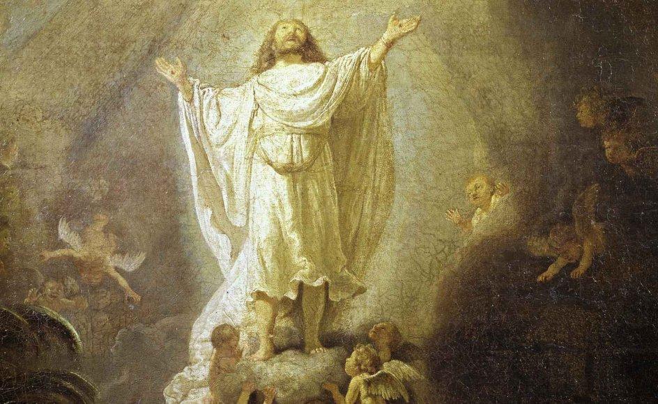 """I morgen er det Kristi himmelfartsdag. Men hvad betyder helligdagen egentlig? Og hvad er himlen? Maleri: Udsnit fra Rembrandt, 1606-1669. """"The Ascension of Christ""""."""
