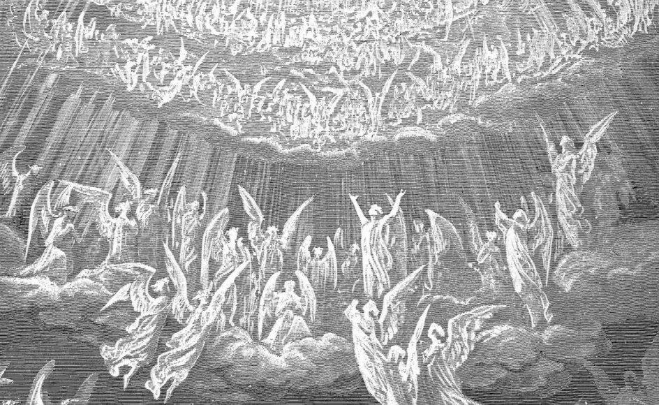 Hos middelalderpoeten Alighieri Dante er himlen et komplekst rum med muligheder for op- og nedstigning. Her ses Gustave Dorés gengivelse af englenes himmelske kor fra den italiensk forfatters univers.