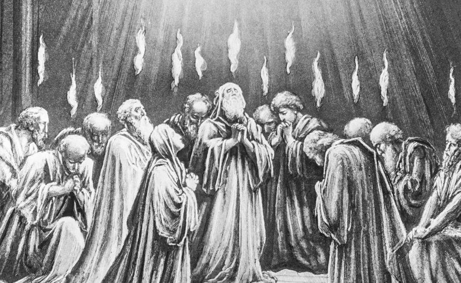 I Bibelen sker pinseunderet, da disciplene er samlet, efter Jesus er steget til himmels. De fyldes af helligånden (billedet), og pludselig kan alle omkring dem forstå, hvad de siger. Ikke fordi alle pludselig taler samme sprog, men fordi Jesu disciple nu kan tale mange forskellige sprog og nå ud til alle.