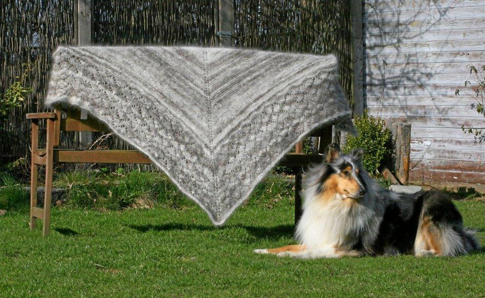 Nette Stormlund har brugt cirka 200 gram collie-uld blandet med 200 gram fåreuld til dette sjal.