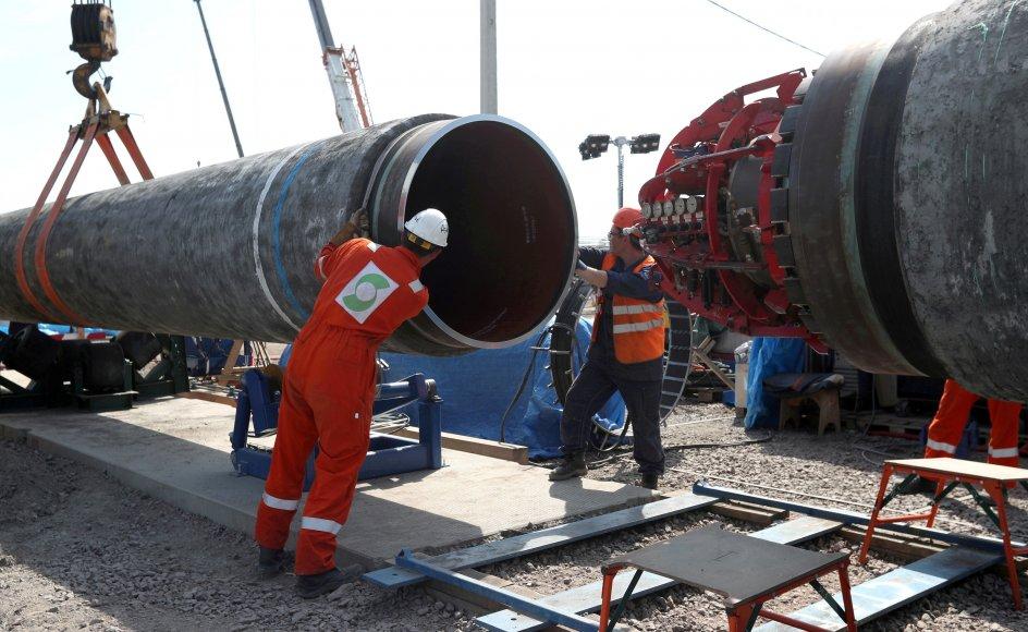 Den næsten 2500 kilometer lange og omstridte gasledning Nord Stream 2, der går fra Rusland til Tyskland, er næsten færdiggjort. Onsdag bilagde USA og Tyskland en årelang strid om projektet. (Arkivfoto)