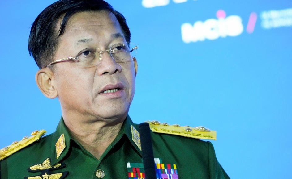 Lederen af militærstyret i Myanmar, general Min Aung Hlaing, har flere gange siden kuppet i februar lovet, at der vil kommet et nyt valg i landet. (Arkivfoto)