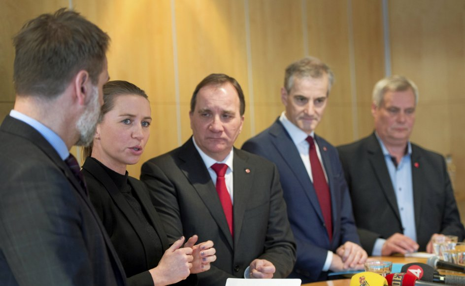 Går dagens norske valg, som meningsmålingerne spår, vil både Danmark, Sverige, Norge og Finland inden længe blive regeret af socialdemokratiske statsministre. Her ses danske Mette Frederiksen, svenske Stefan Löfven og norske Jonas Gahr Støre.