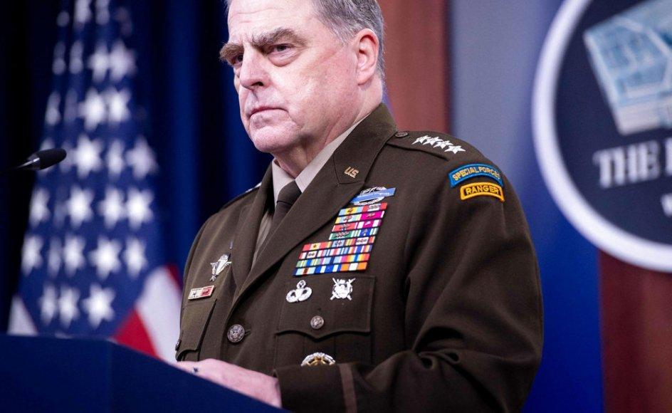 Stormløbet mod USA's Kongres i januar fik den amerikanske forsvarschef, Mark Milley (billedet), til at frygte, at præsident Donald Trump kunne finde på at beordre et angreb mod Kina i sin sidste tid som præsident. (Arkivfoto)
