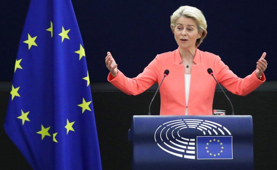 """Ursula von der Leyen nævnte onsdag behovet for en forsvarsunion, da hun holdt sin tale """"Unionens tilstand 2021"""" i EU-Parlamentet i Strasbourg, Frankrig."""