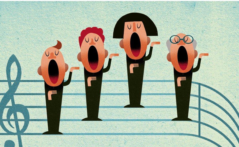 Primært synger vi, fordi vi får fællesskab ud af det. At synge sammen er en af de mest eminent uovertrufne måder at knytte mennesker sammen på. Illustration: Morten Voigt