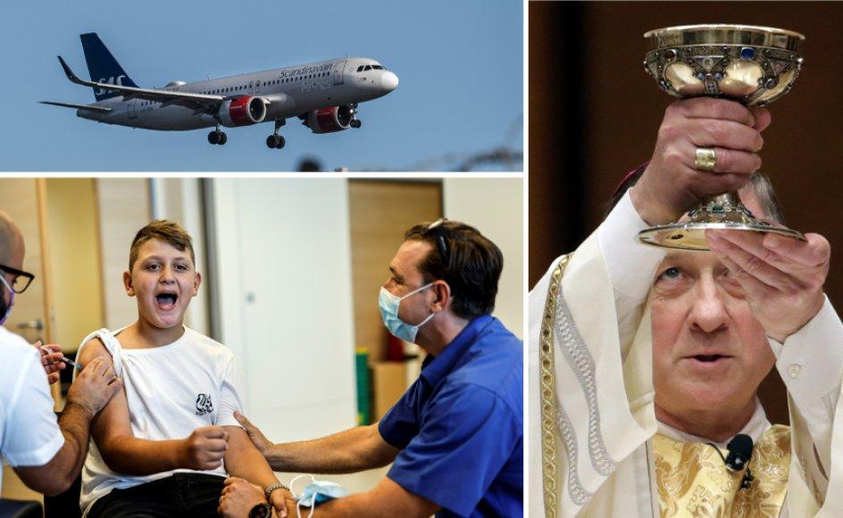 Israelsk dreng modtager coronavaccine, SAS-fly lander ved Kastrup Lufthavn, og nadverritual i kirke i Chicago.