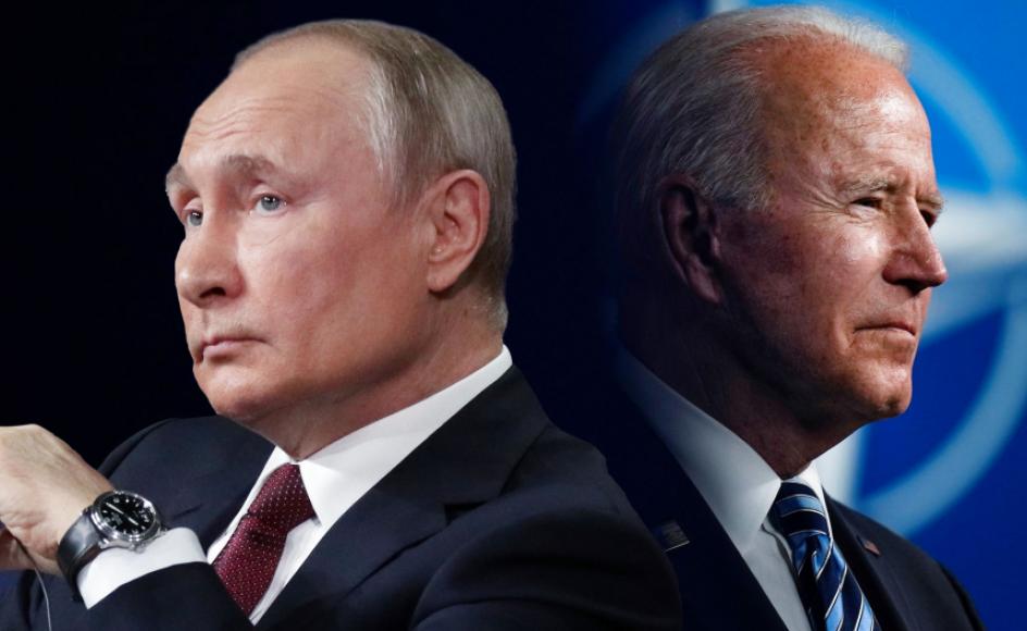 De to ledere er rundet mere af fortiden end af fremtiden og har stået direkte over for hinanden i den største konflikt i dette århundrede på europæisk jord.- Foto: Pool/Reuters/Ritzau Scanpix, Sputnik/Reuters/Ritzau Scanpix. Grafik: Simone Nilsson.
