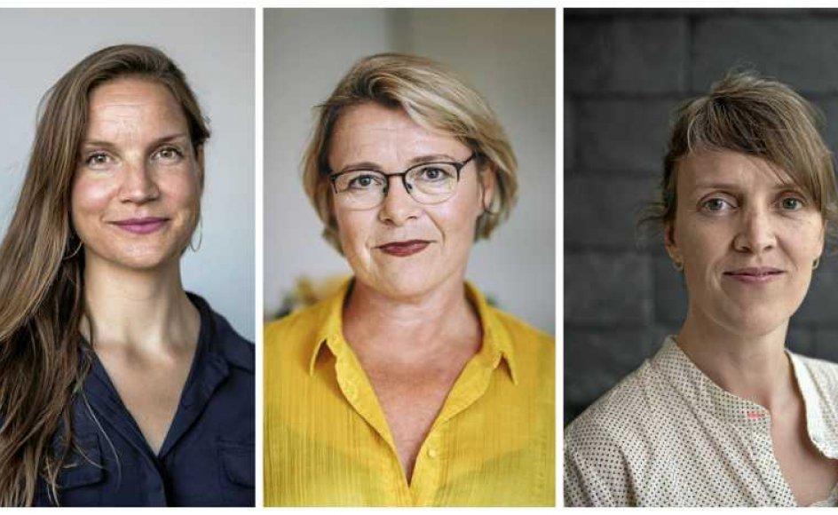 Fra Venstre: Marie Nipper (født 1979) fra Copenhagen Contemporary, Gitte Ørskou (født 1971) fra Moderna Museet i Stockholm og Lisette Vind Ebbesen (født 1975) fra Skagens Museum har alle en fortid på Aros og nævnes blandt favoritterne til stillingen som ny direktør. Især én står særligt stærkt.