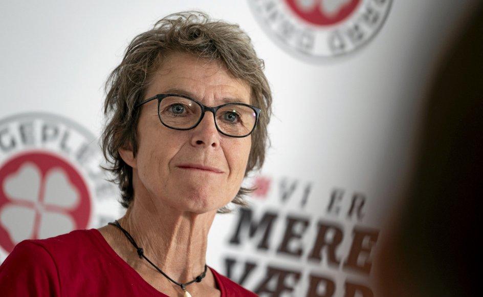 Dansk Sygeplejeråds formand, Grete Christensen, præsenterer resultatet og svarer på spørgsmål på et pressemøde om resultatet af urafstemning om Forligsinstitutionens mæglingsforslag til en aftale for sygeplejersker og radiografer i forbindelse med OK21, i Kvæsthuset i København mandag den 14. juni 2021.. (